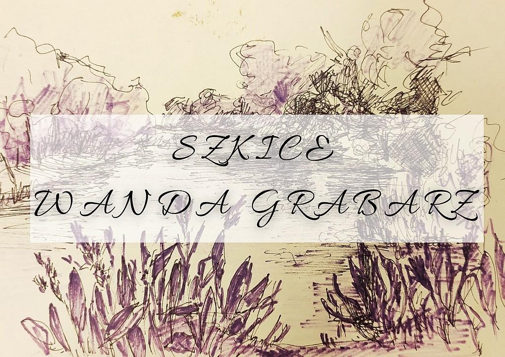 """Plakat wystawy Wandy Grabarz """"Szkice"""", w tle jedna z prac utorki"""