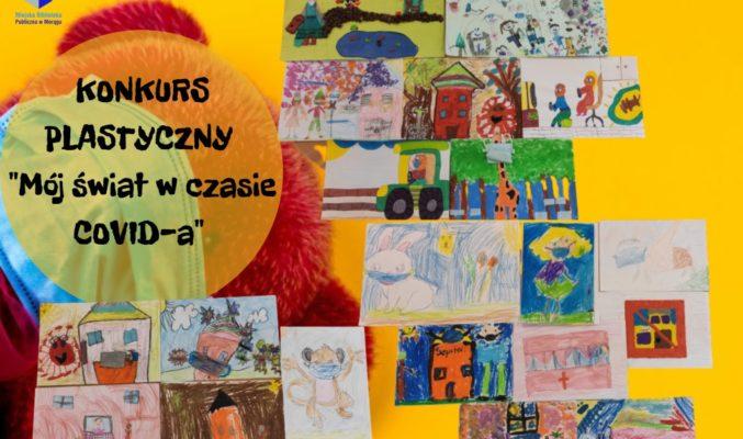 """Plakat konkursu plastycznego """"Mój świat w czasie COVID-a"""" złożony z 21 dostarczonych prac"""