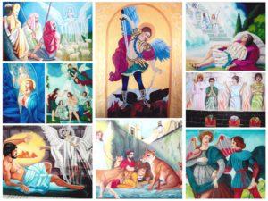 Kolaż z 9 ilustracji przedstawiających anioły