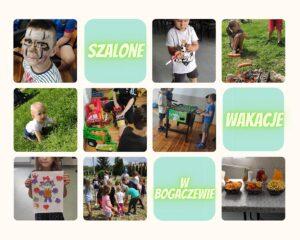 """Zbiór 12 planszy: 3 tworzą napis """"Szalone / wakacje / w Bogaczewie"""", pozostałe to zdjęcia dzieci na trawie, na plaży, przy ognisku, bawiące sie zabawkami-samochodami, grającymi w piłkarzyki oraz stół z przekąskami"""