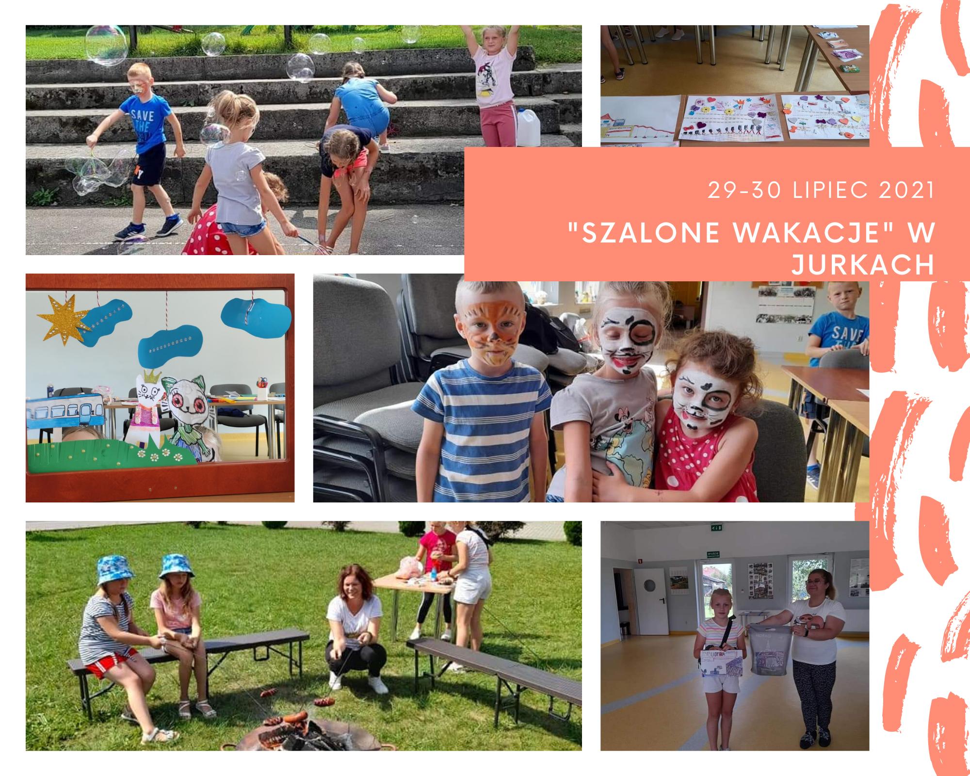 """Grafika przedstawiająca dzieci uczestniczące w """"Szalonych wakacjach"""" w Jurkach"""