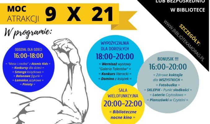 """Plakat informujący o """"Nocy bibliotek"""" 9 października 2021 r., na plakacie plan wydarzeń z podziałem na różne działy biblioteki"""