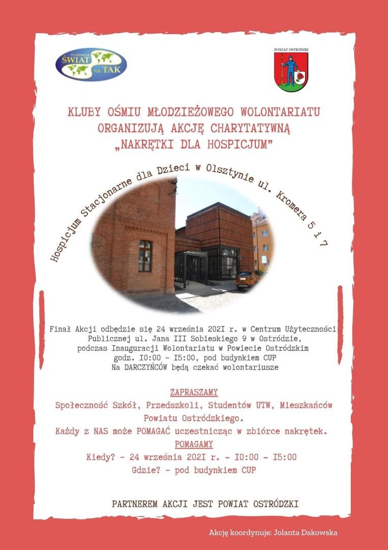 Plakat akcji charytatywnej zbiórki nakrętek, na plakcie budynek Hospicjum Stacjonarnego dla Dzieci w Olsztynie